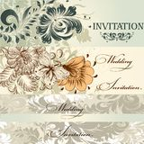 Collection of vector wedding cards in vintage style Stock Image