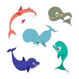 Collection of vector whale icons or illustrations. Collection of vector whale icons Stock Images