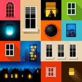 Collection of Vector Windows Royalty Free Stock Images