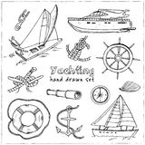 Collection of vector yachting doodle icons.  objects. Stock Photos