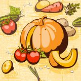 Collection vegetable on a braided background Royalty Free Stock Photo