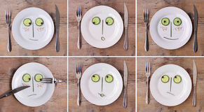 Collection of Vegetable Faces on Plate, various em Stock Image
