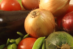 Collection of vegetables. Collection of organic vegetables, close up with prominent onion Royalty Free Stock Photos
