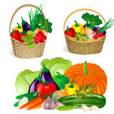 Collection of vegetables in the basket Royalty Free Stock Photo