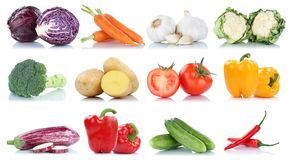 Collection of vegetables bell pepper tomatoes carrots broccoli f Royalty Free Stock Photos