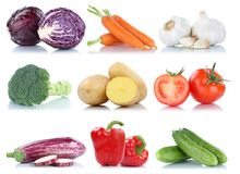 Collection of vegetables bell pepper tomatoes carrots fresh food Stock Images