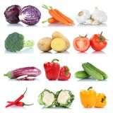 Collection of vegetables bell pepper tomatoes carrots fresh food Stock Photos