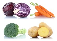 Collection of vegetables carrots fresh food vegetable potatoes i Stock Images