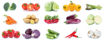 Collection of vegetables carrots tomatoes cucumber eggplant bell. Pepper lettuce vegetable food isolated on a white background Stock Photos