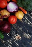 Collection of vegetables displaced over black background stock image