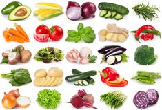 Collection of vegetables and herbs on white background. Collection of vegetables and herbs isolated on white background royalty free stock photo