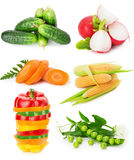 Collection of vegetables isolated on the white background.  Stock Photo