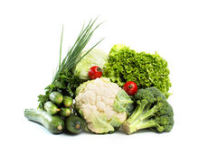 Collection vegetables isolated on a white background. Royalty Free Stock Photos