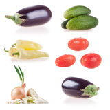 Collection vegetables isolated on white background, peppers, eggplant, cucumber, zucchini, leek, onion, tomato, lettuce Royalty Free Stock Photography