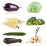 Collection vegetables isolated on white background, peppers, eggplant, cucumber, zucchini, leek, onion, tomato, lettuce Stock Photos