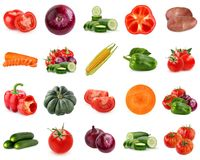 Collection of vegetables isolated on white background. Stock Photography