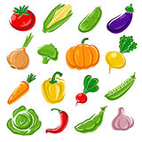 Collection of vegetables set. Vector illustration Stock Photos