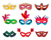 Collection Venetian carnival masks hand painted Royalty Free Stock Image