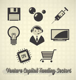 Venture Capital Funding Sectors. Collection of venture capital funding labels and icons Stock Images