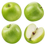 Collection verte de pomme blanc d'isolement par fruit de ramassage Photos stock