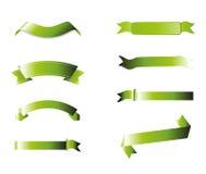 Collection verte de rubans, d'isolement sur le fond blanc Photos stock