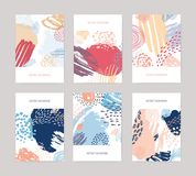 Collection of vertical abstract backdrops or card templates with colorful paint traces, blotches, smudges, stains on. White background. Creative vector royalty free illustration