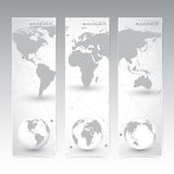 Collection vertical banner design. World Map and Stock Image