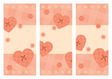 Collection of vertical Valentine cards Stock Photos