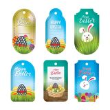 Collection of Vibrant Easter labels in Gradient style. Collection of six print ready Easter labels with unique bunny and Easter egg basket presented in gradient Stock Photos