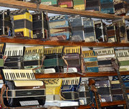 Collection of vintage accordions in Volgograd Museum of musical instruments Royalty Free Stock Image