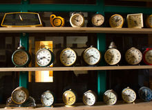 Collection of vintage alarm clocks Stock Images