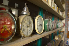 Collection of vintage alarm clocks Royalty Free Stock Photo