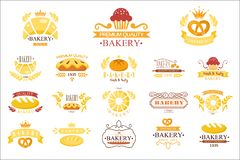 Vector set of vintage bakery labels. Emblems with fresh bread, pies, pretzel, buns, loaves, cupcakes, croissants. Collection of vintage bakery labels. Emblems stock illustration