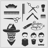 Collection of vintage barber shop labels, logo and design element. Vector Royalty Free Stock Image