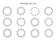 Set of black circular decorative frames. Vector illustration. Collection of vintage black circulars borders isolated on white background. Set of round vector illustration