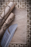 Collection of vintage blank sheet corded paper scrolls plume Royalty Free Stock Photography