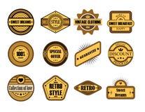 Set of vintage brown labels. Collection of vintage brown labels Stock Images
