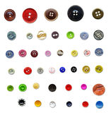Collection of vintage buttons. Collection of different vintage sewing buttons isolated on white Stock Photography