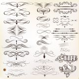Collection of  vintage calligraphic design elements and page dec Stock Photos