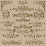 Collection of vintage calligraphic flourishes, curls and swirls decoration for greeting cards,books or dividers. Royalty Free Stock Image