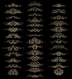 Collection of vintage calligraphic flourishes, curls and swirls decoration for greeting cards,books or dividers. Royalty Free Stock Photos