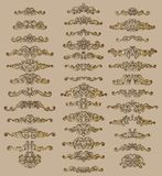 Collection of vintage calligraphic flourishes, curls and swirls decoration for greeting cards,books or dividers. Stock Photography