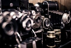 Collection of Vintage Cameras Stock Photo