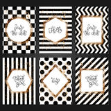 Collection of 6 vintage card templates in black and white color royalty free illustration