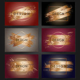 Collection of 6 vintage card templates with copper brushstrokes. Royalty Free Stock Photo