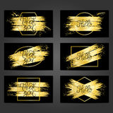 Collection of 6 vintage card templates with golden brushstrokes vector illustration