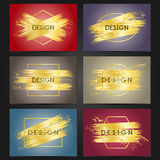 Collection of 6 vintage card templates with golden brushstrokes. Stock Image