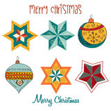 Collection of vintage Christmas decorative elements Stock Photo