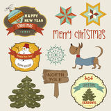 Collection of vintage Christmas decorative elements and labels Stock Photo