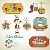 Collection of vintage Christmas decorative elements and labels Stock Photography